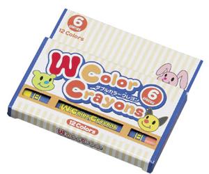 Wカラークレヨン6本入