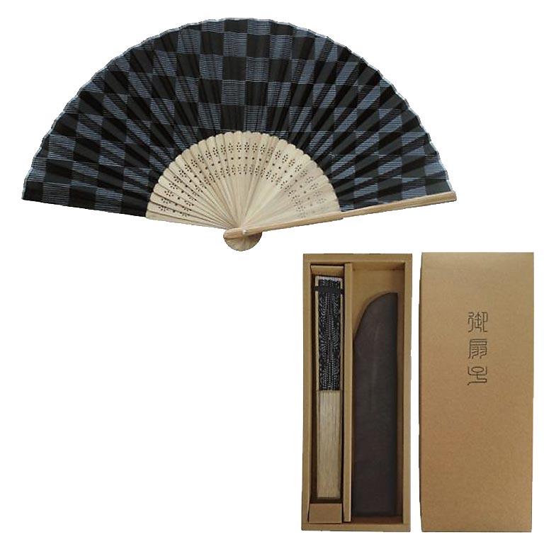 すす竹市松扇子と扇子袋セット