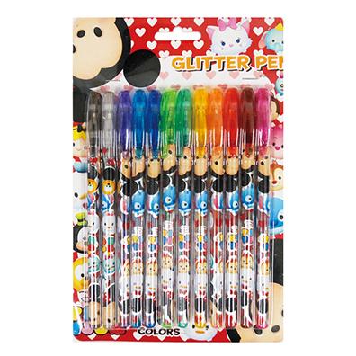 キャラクター カラフルグリッターペン12色