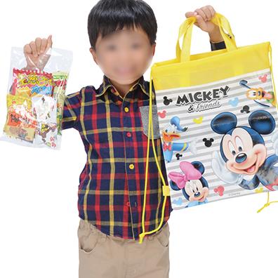 キャラクター巾着バッグ付き駄菓子パック6点セット