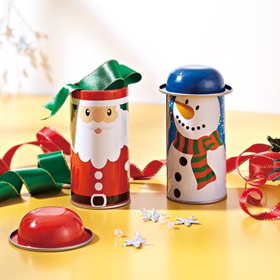 クリスマス・フタ付ブリキ缶