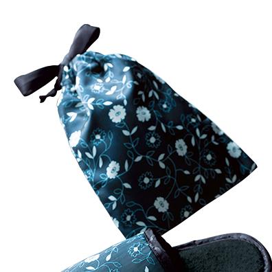 フロリア/サテンシリーズ 巾着付携帯用スリッパ