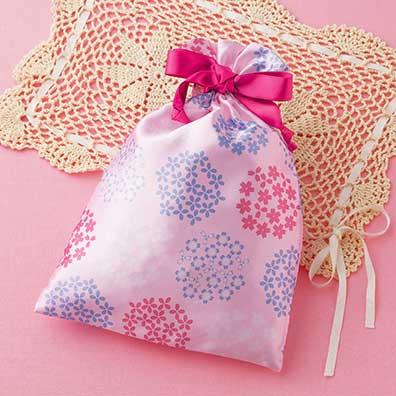 桜彩サテン巾着