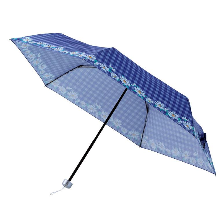 チェックフラワー・晴雨兼用コンパクトアンブレラ