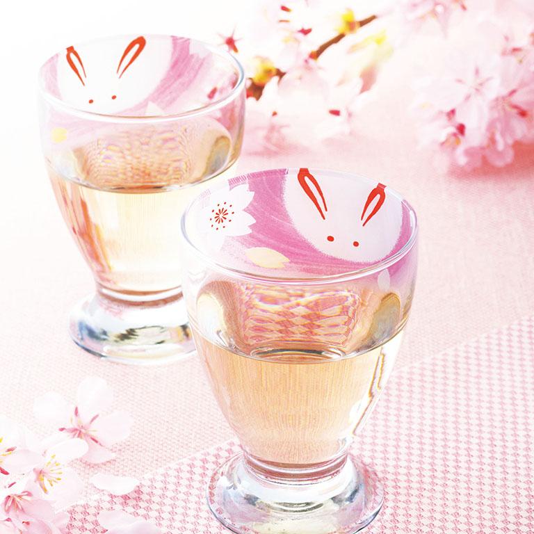 うさぎ桜・台付きグラス