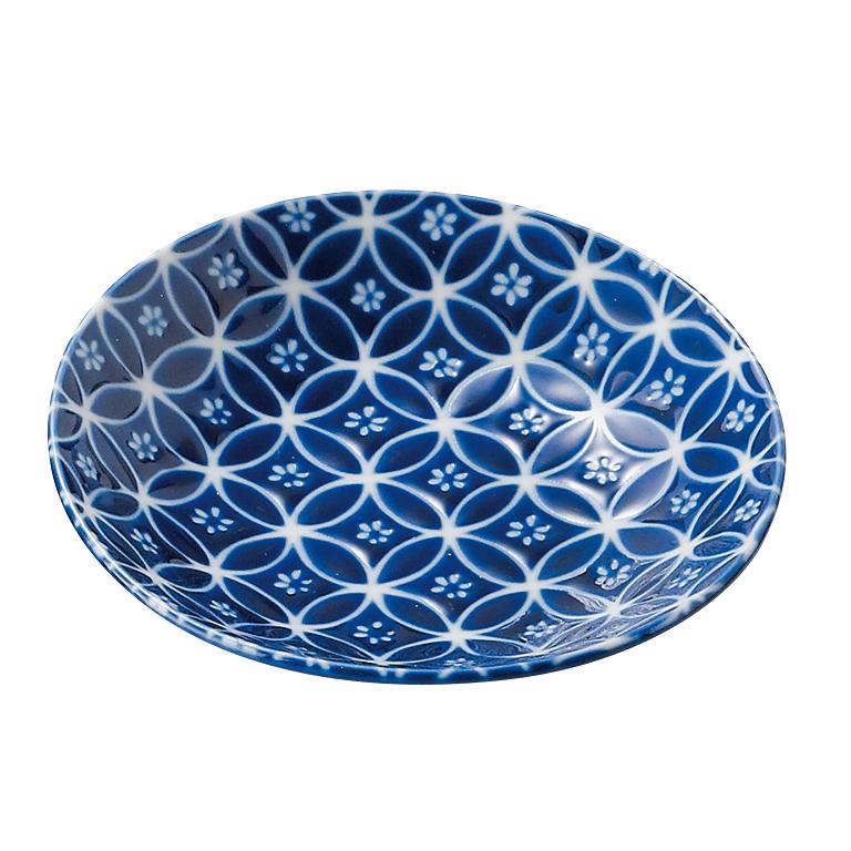 瑠璃小紋 丸皿2P
