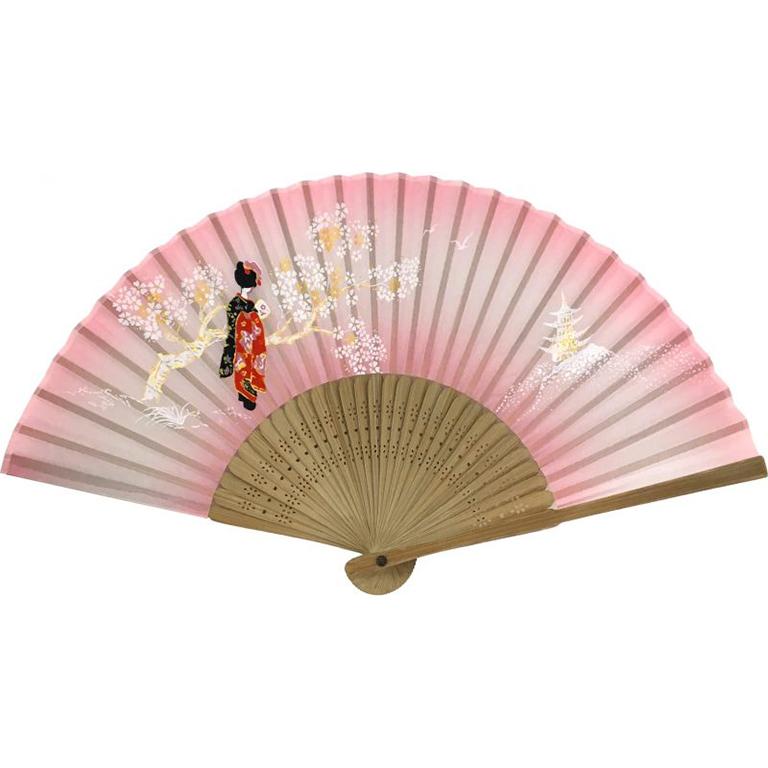 唐木中彫 舞妓扇子ピンク
