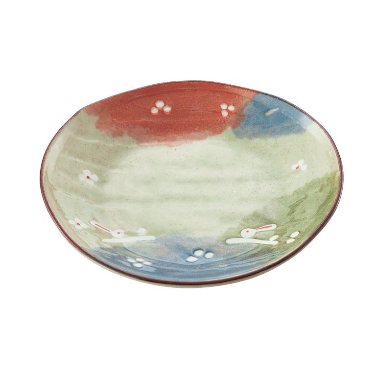 宵うさぎ 楕円5寸皿