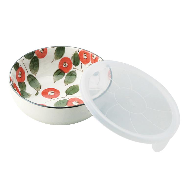 椿柄蓋付きノンラップ小鉢1P