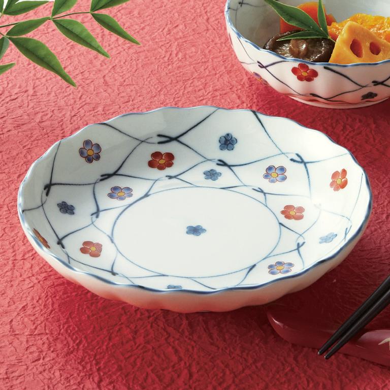 あみ梅 赤絵の花5寸皿 1P