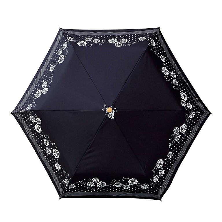 ローズドットボーダー/晴雨兼用折りたたみ傘