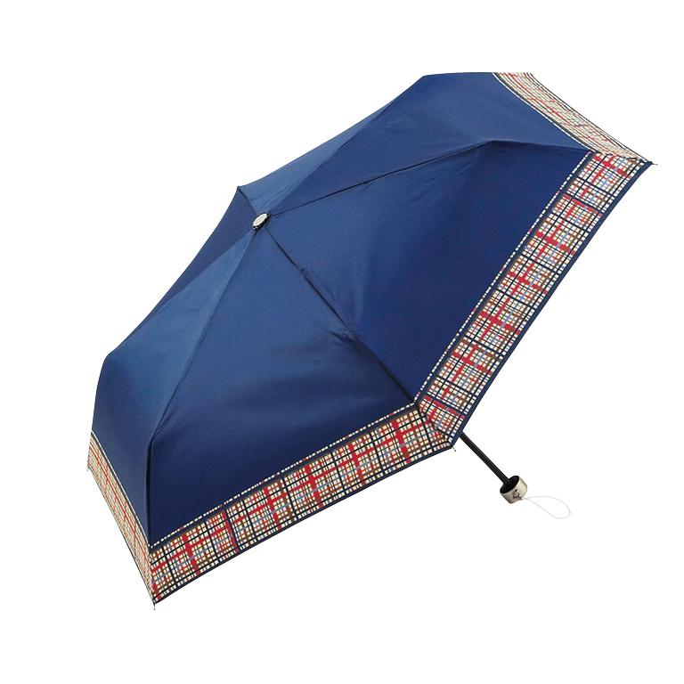 マドラスチェック・晴雨兼用折りたたみ傘