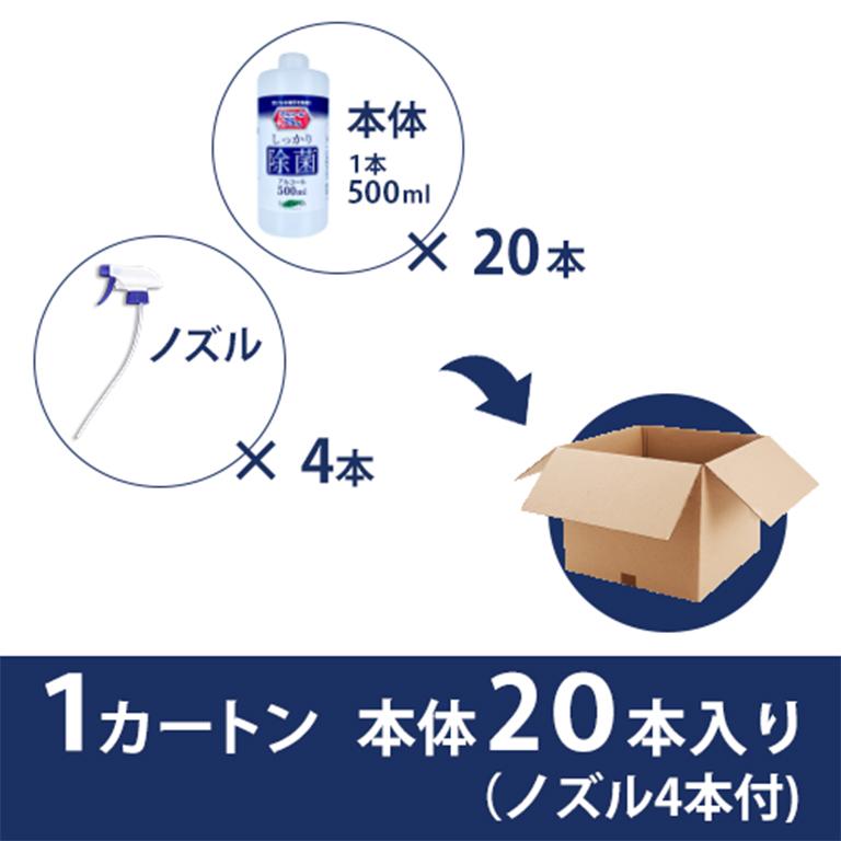 高濃度アルコール75% 除菌アルコールボトル500ml 20本セット ノズル4点セット付